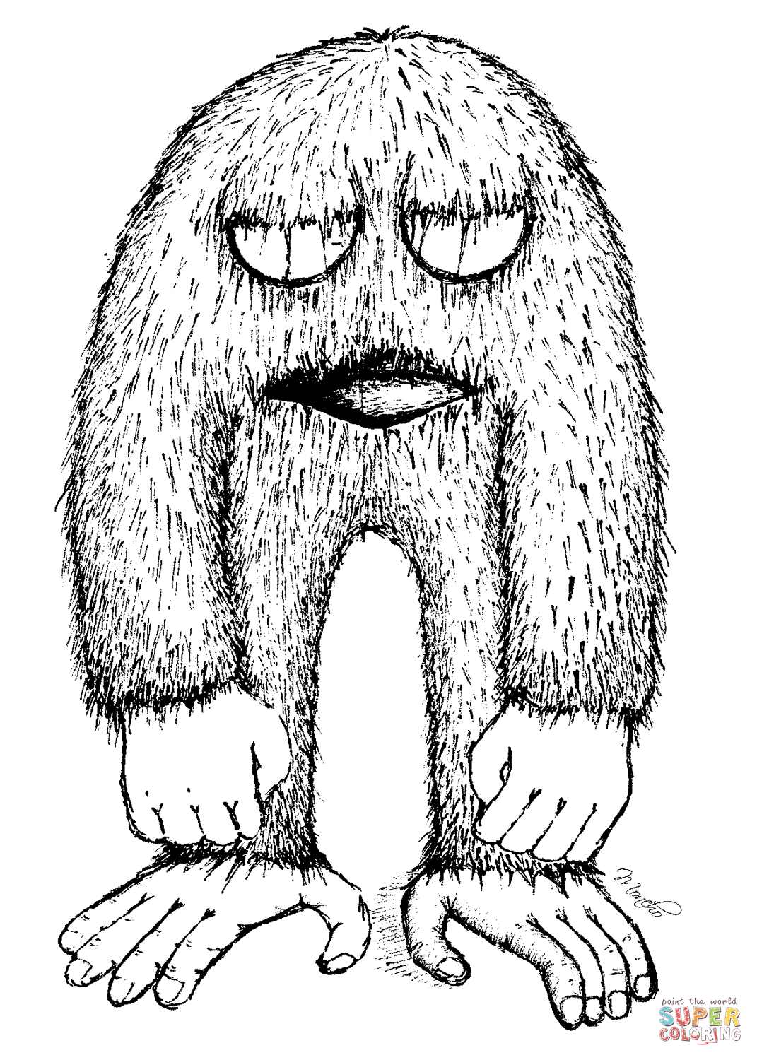 1071x1500 Cartoon Yeti Coloring Page Free Printable Coloring Pages