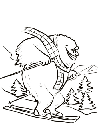 343x480 Yeti On Ski Slope Coloring Page Free Printable Coloring Pages