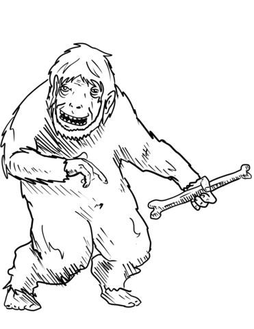 371x480 Yeti With Bone Coloring Page Free Printable Coloring Pages