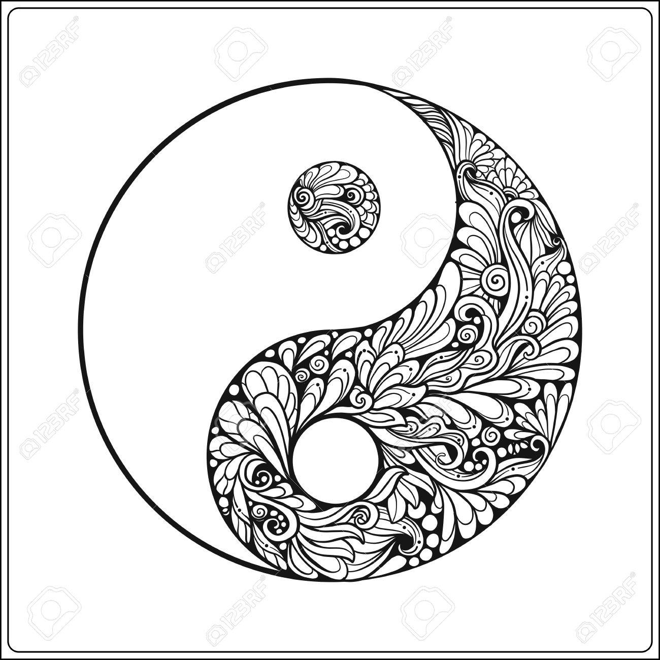 1300x1300 Symbol Of Yin And Yang. In Gold On Black Background Coloring