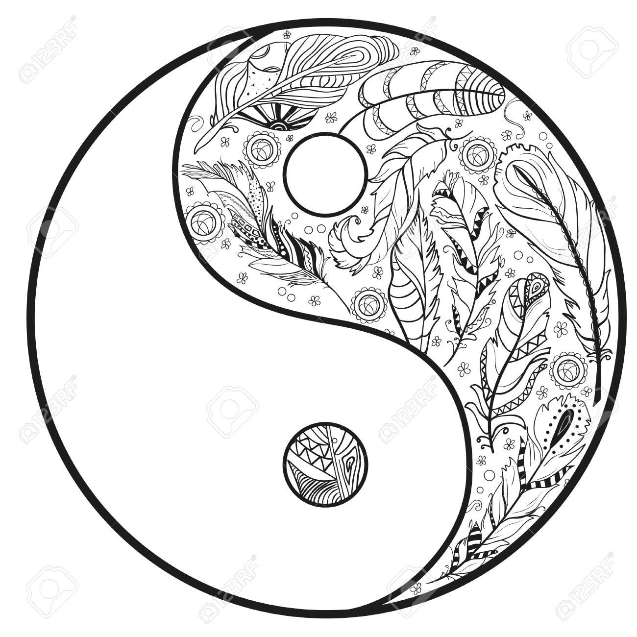 1300x1300 Yin And Yang. Feather Pattern. Zentangle. Hand Drawn Mandala