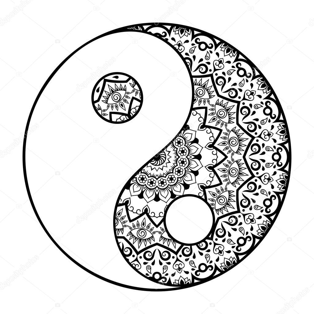 1024x1024 A Circular Pattern In The Form Of A Mandala. Yin Yang Decorative