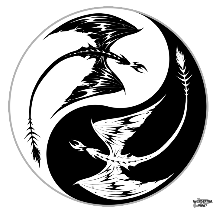715x700 Yin Yang Dragons By Thunderingnight