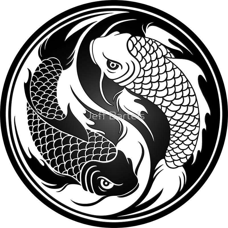 800x800 Black And White Yin Yang Koi Fish Stickers By Jeff Bartels