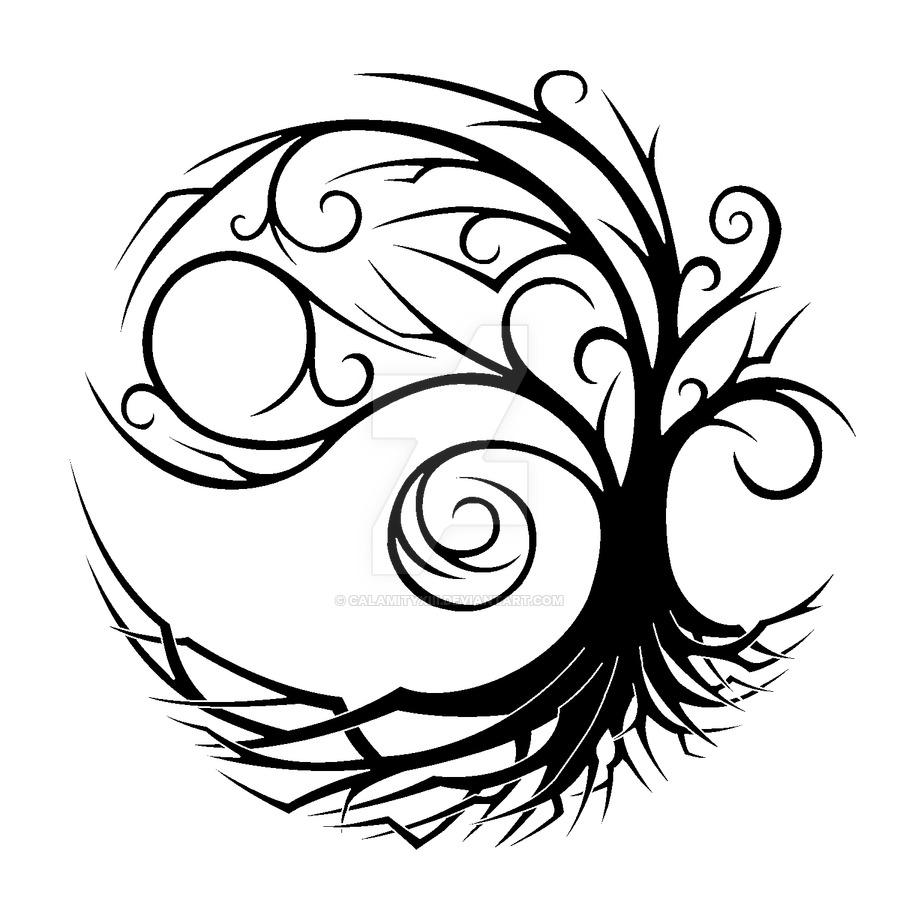 900x900 Yin Yang Tree By Calamityxiii