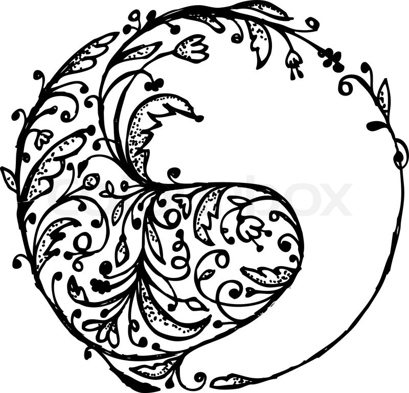 800x769 Yin Yang Sign, Sketch For Your Design Stock Vector Colourbox