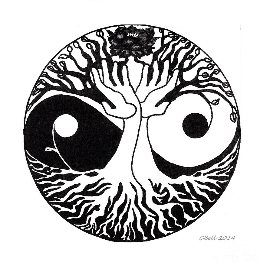 892x900 Tree Hands Yinyang Design Drawing By Chris Bell