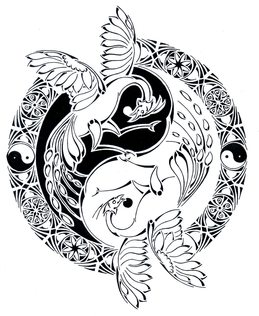 1024x1246 Tribal Yin Yang Phoenix Battle By Curvy Tribal