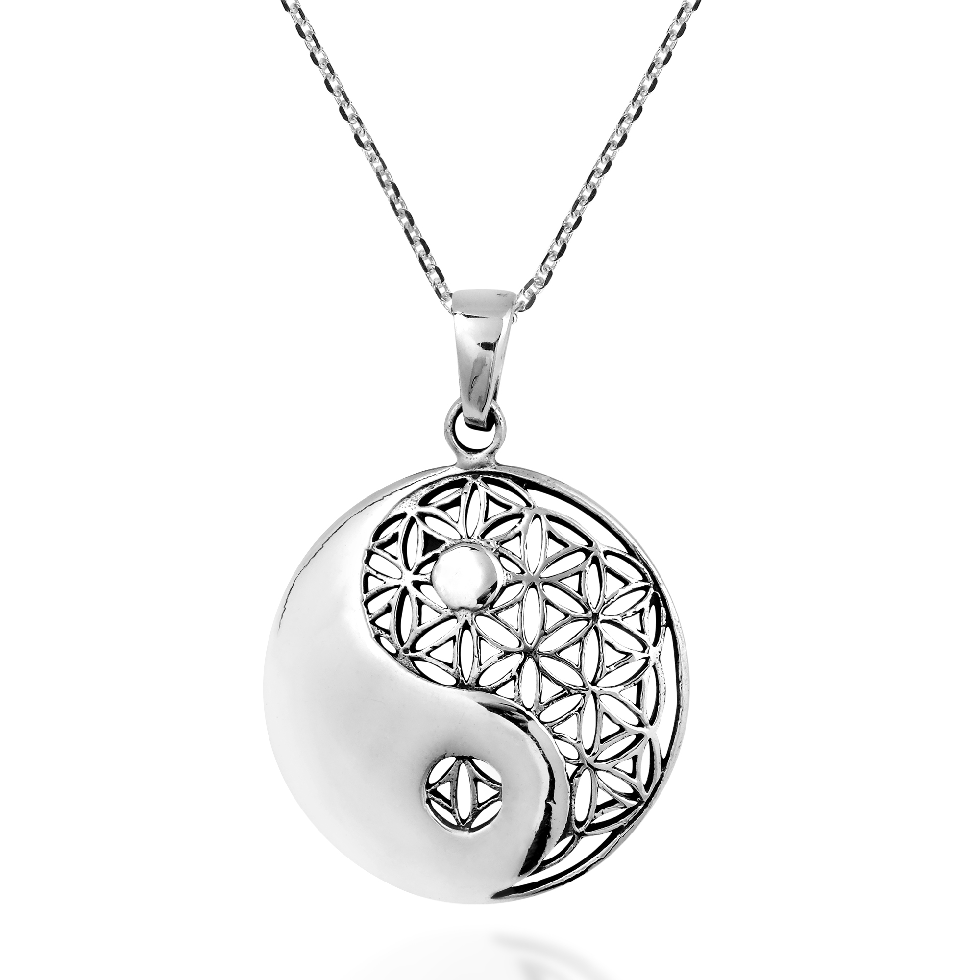 2000x2000 Yin Yang Balance Flower Of Life Sterling Silver Necklace