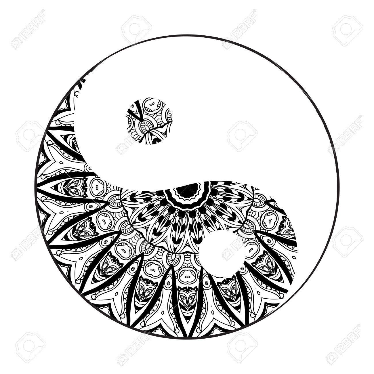 1300x1300 Ornament Card With Mandala Yin Yang. Geometric Circle Element Made