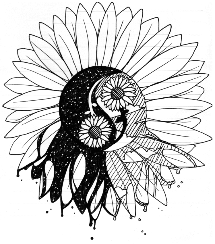 749x849 Black Yin Yang Symbol In Sunflower Tattoo Design By Deige