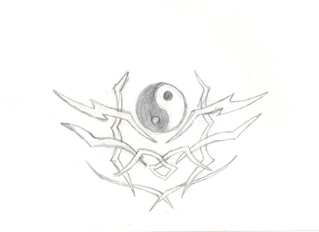 1024x744 Tribal And Yin Yang Symbol Tattoo Design
