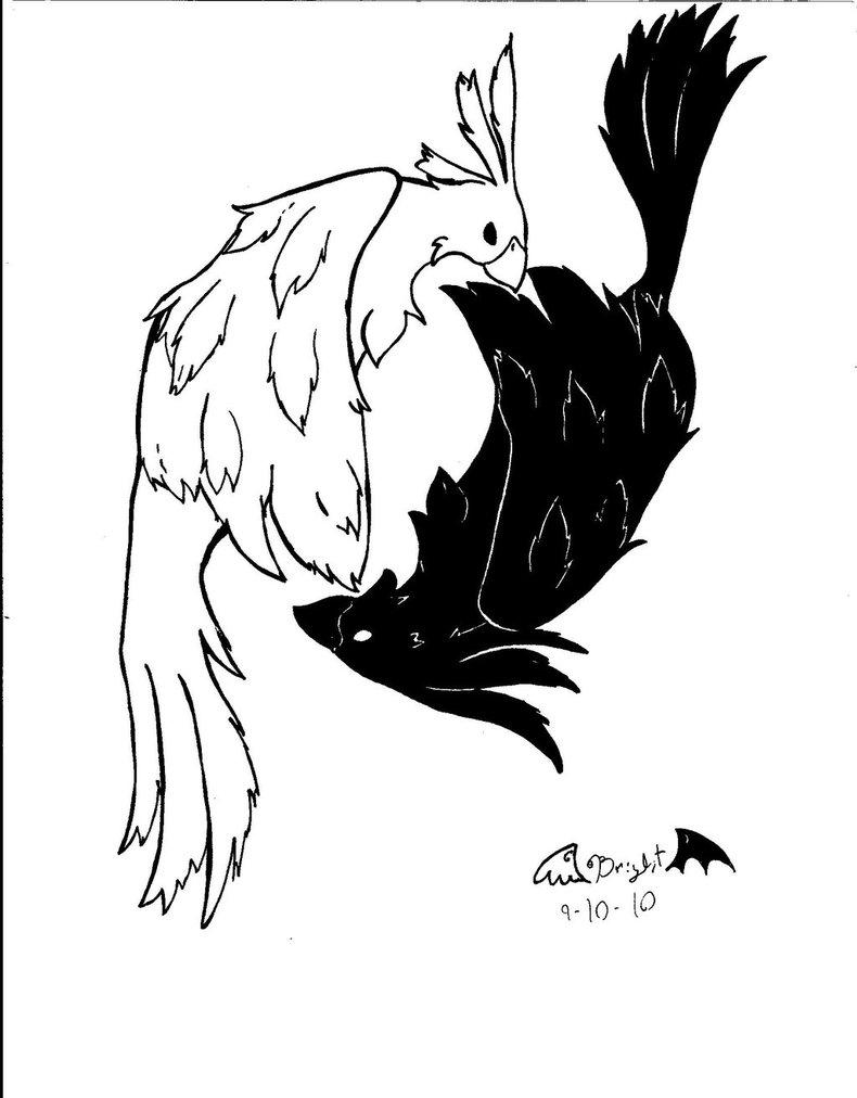 790x1012 White Phoenix And Black Wolf Yin Yang Tattoo Design Tattoo Ideas