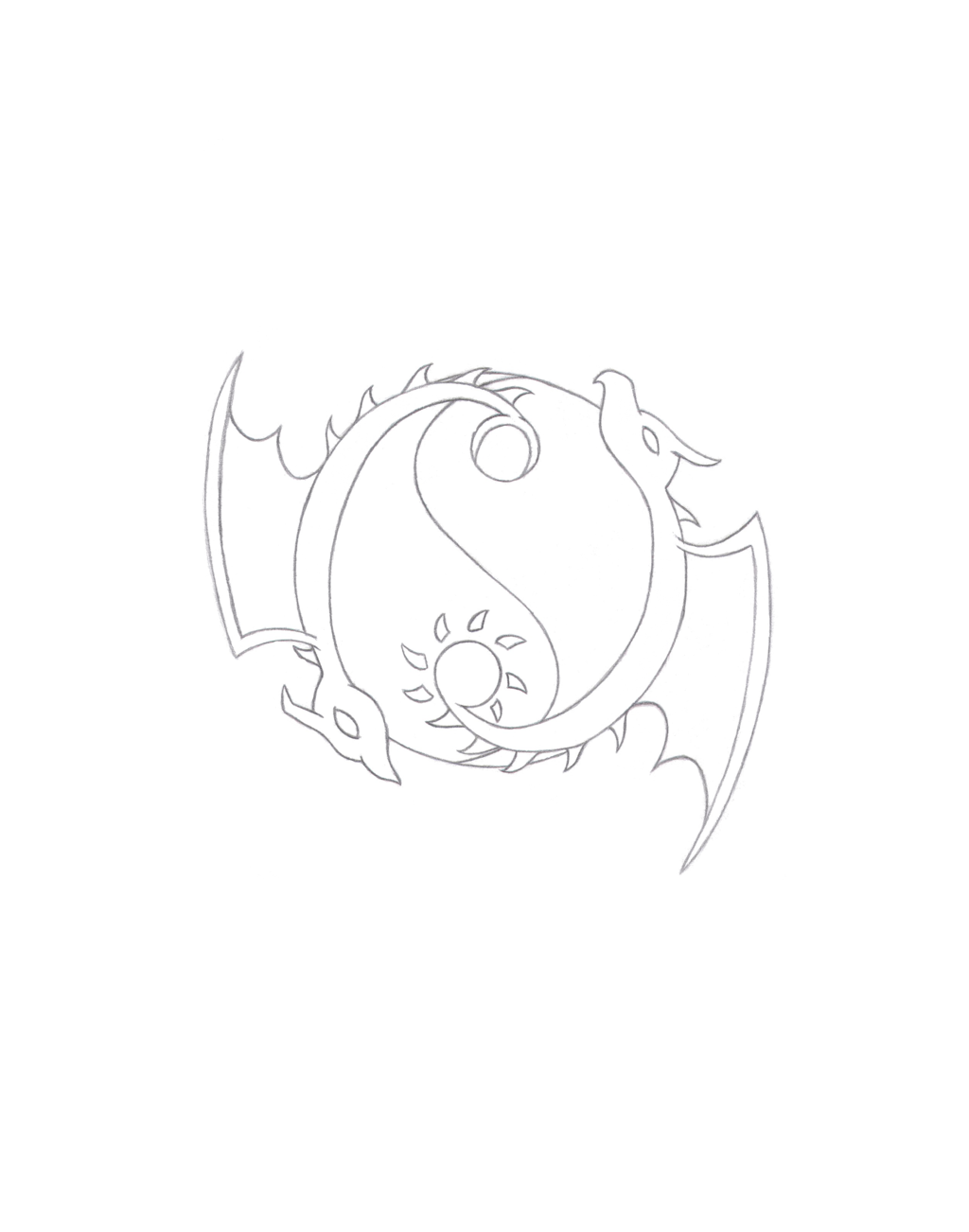 1024x1302 Yin Yang Dragon Tattoo Design Pencil Sketch By Pat In The Hat