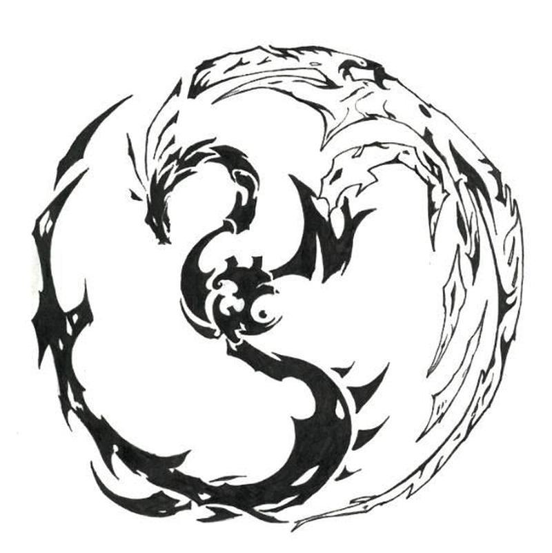 800x801 Yin Yang Dragon Tattoo