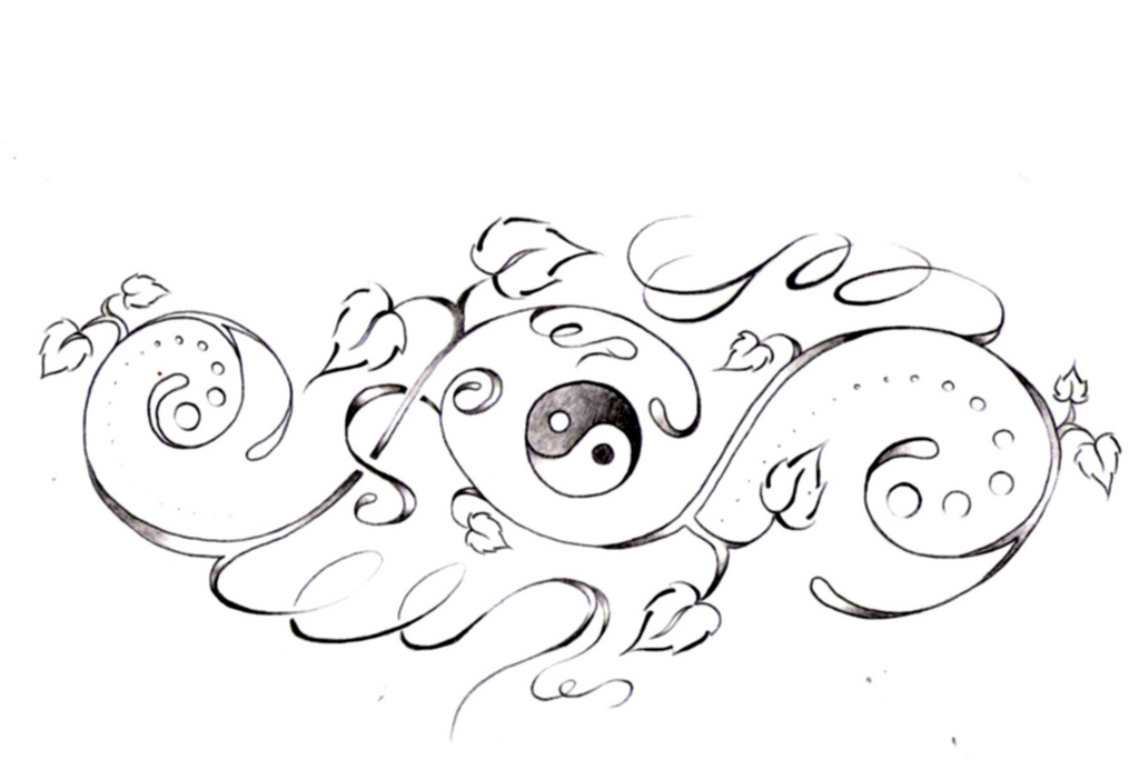 1024x693 Yin Yang And Vines Tattoo Design By Denise A. Wells