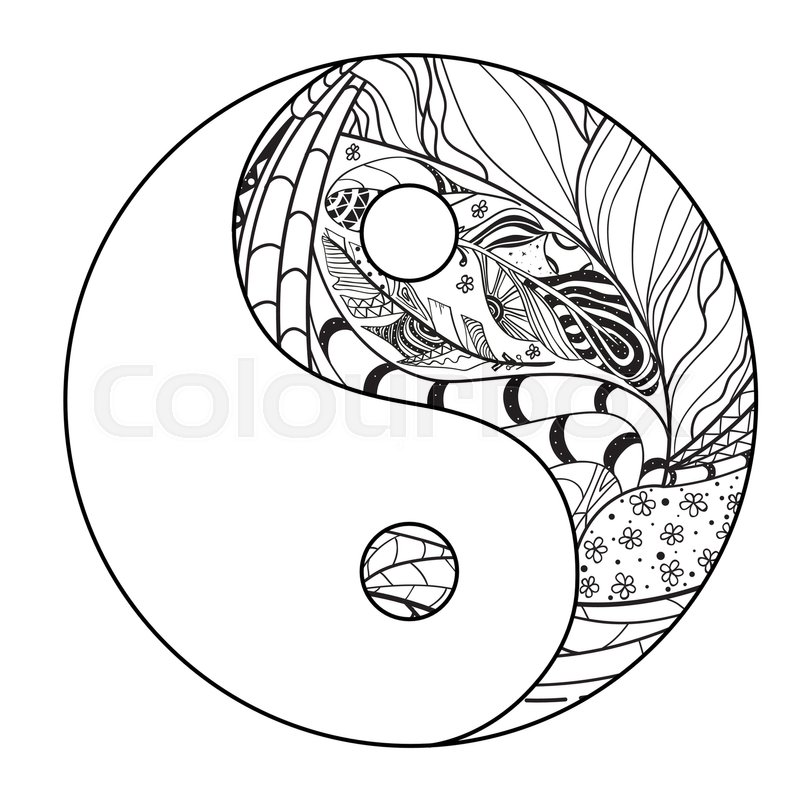 800x800 Yin And Yang. Zentangle. Hand Drawn Mandala On Isolation