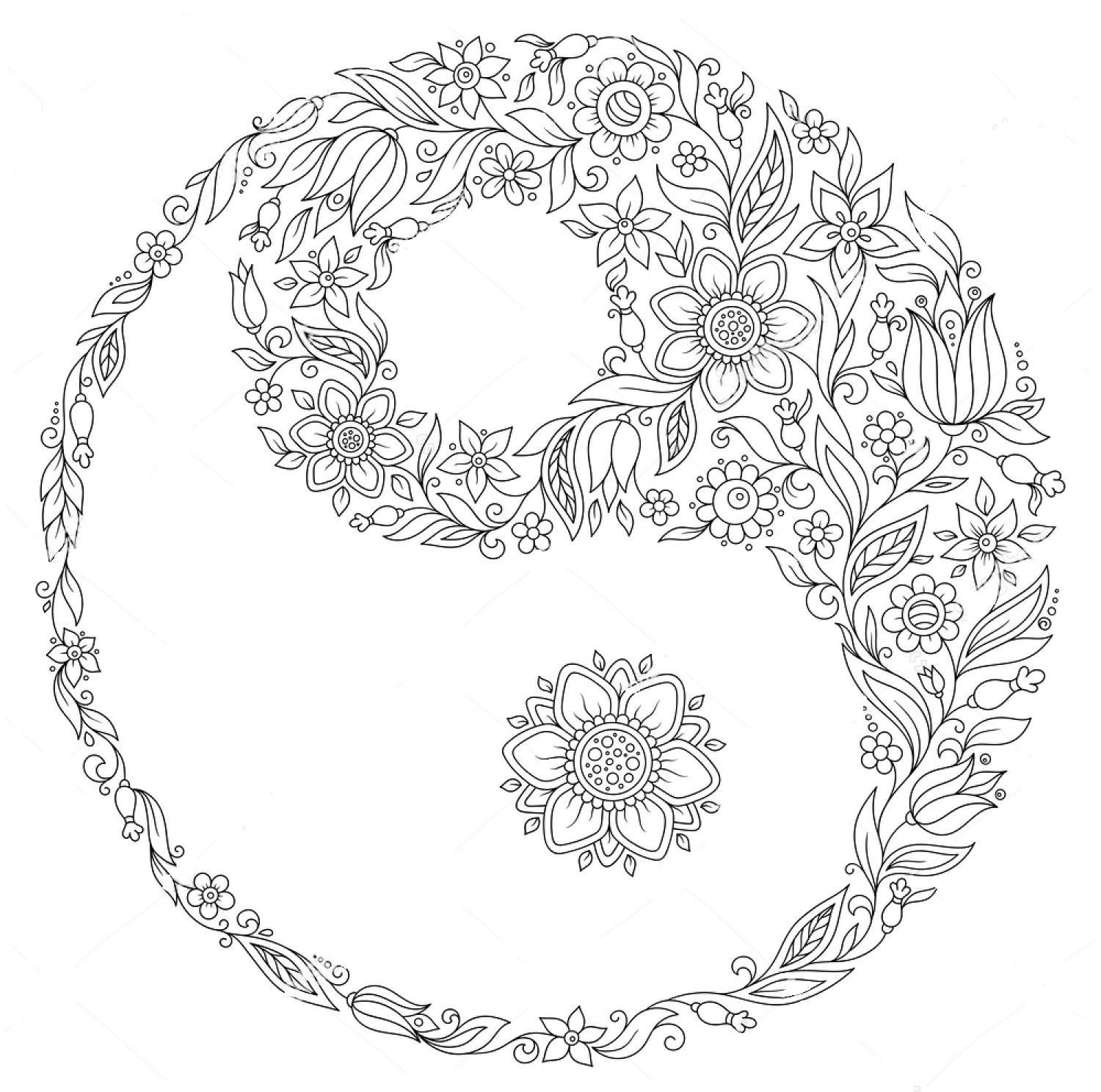 Yin yang drawing designs at free for for Ying yang coloring pages