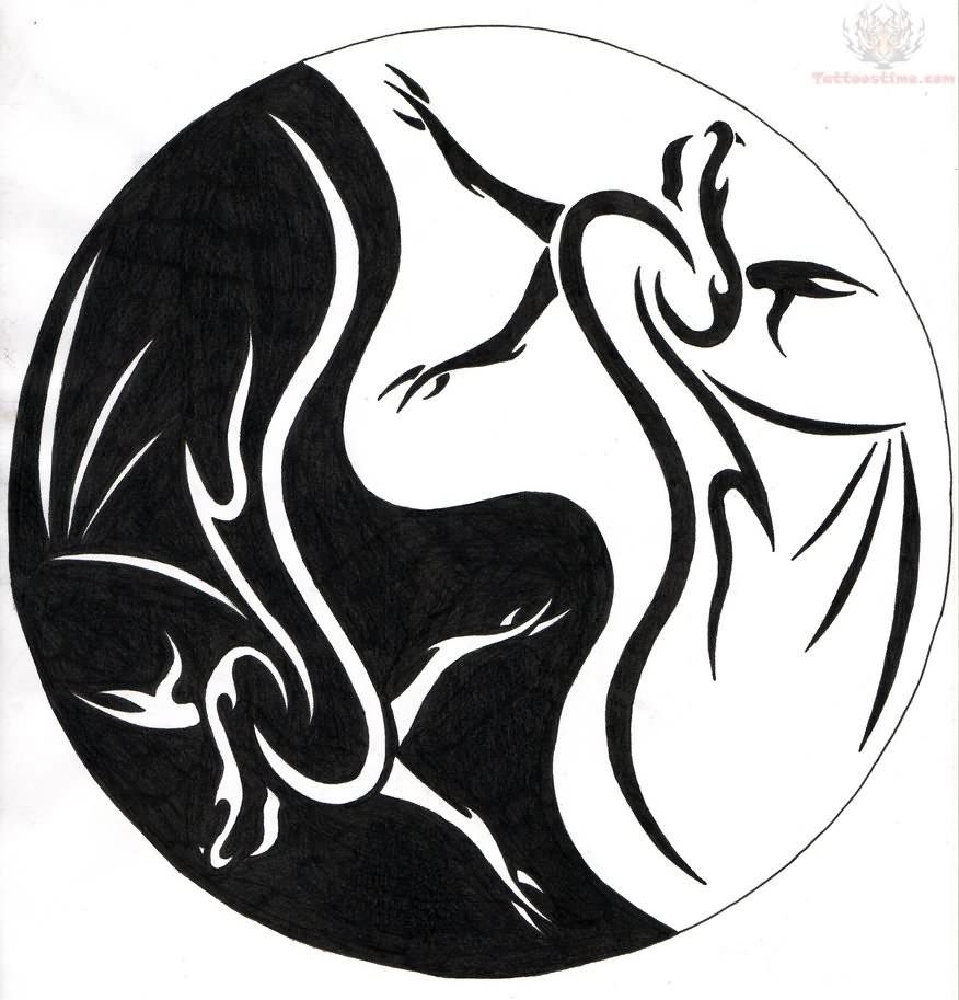 876x913 Dragon Bat Ying Yang Tattoo Sample Tattoos Tattoo