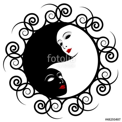 500x500 Masks. Ying Yang Symbol Of Harmony Balance Stock Image