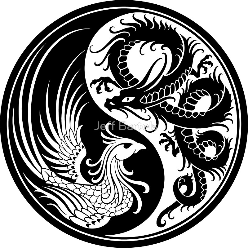 800x800 White And Black Dragon Phoenix Yin Yang Stickers By Jeff Bartels