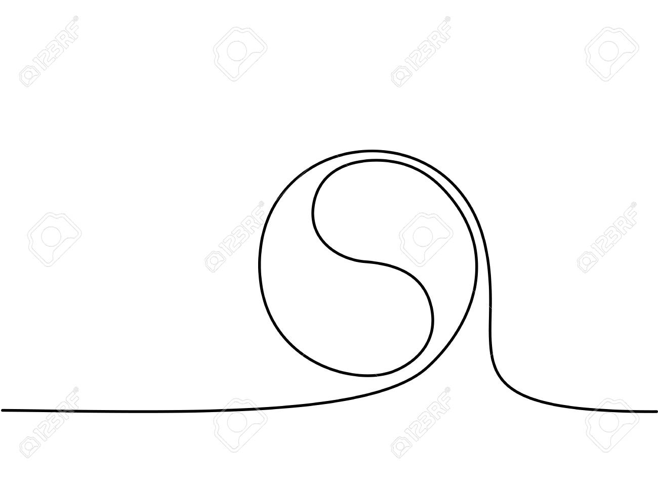 1300x975 Yin Yang Symbol Sign. Continuous Line Drawing Icon. Vector