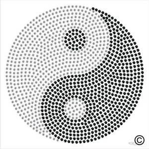 300x300 Yin Yang Symbol Spirituality Rhinestone Diamante Transfer Iron