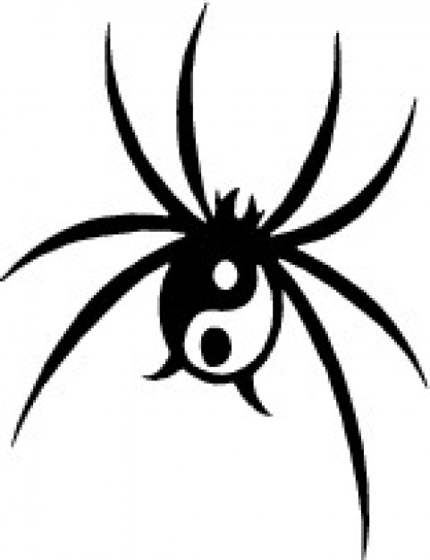 481x626 Black Spider With Yin Yang Symbol Vector Free Download