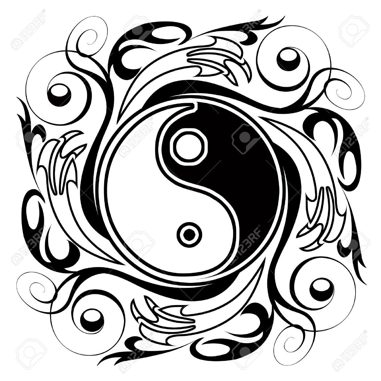 1300x1300 Yin Amp Yang Ornamental Tattoo Symbol Stock Photo, Picture