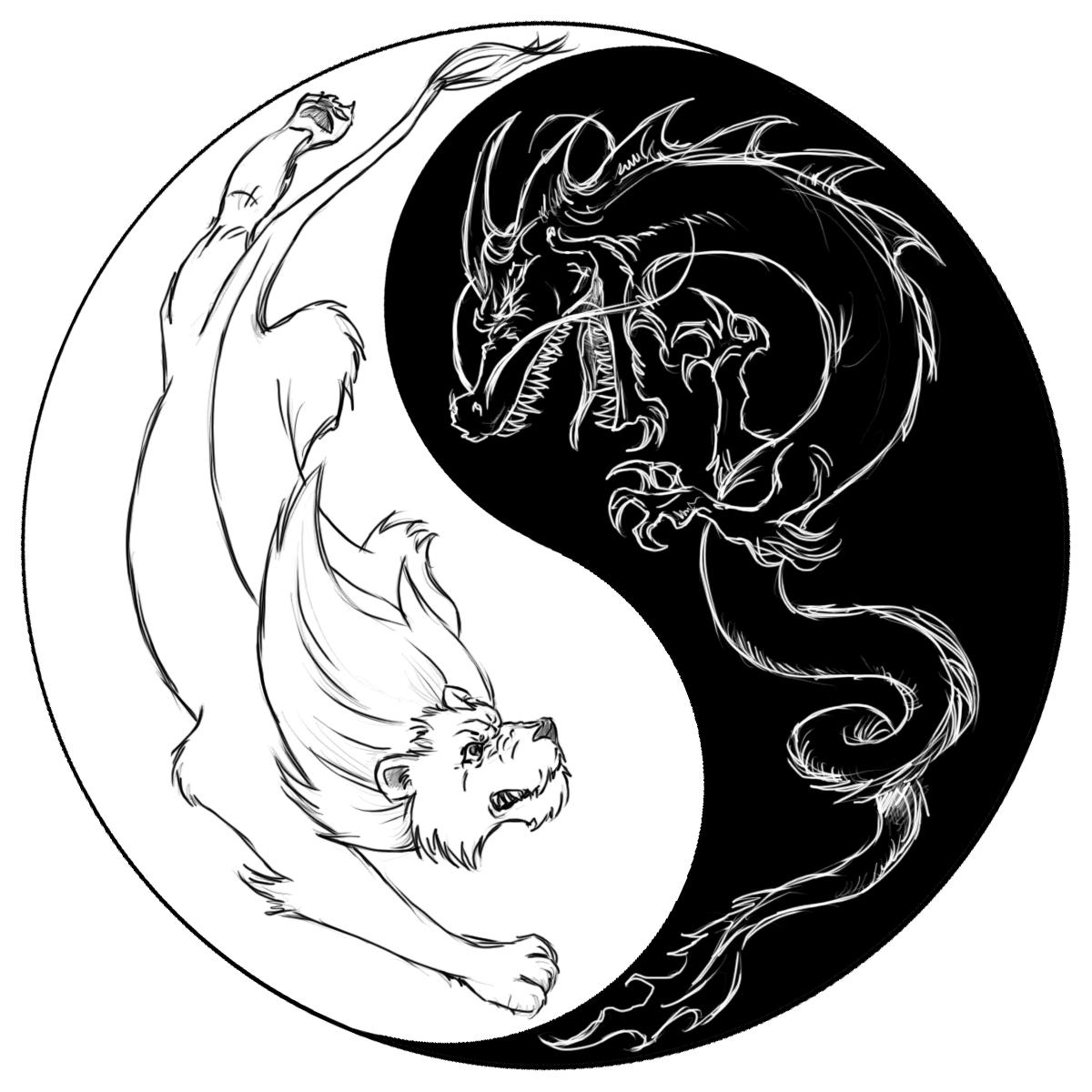 1200x1200 Dragon Tiger Yin Yang Symbol Tattoos