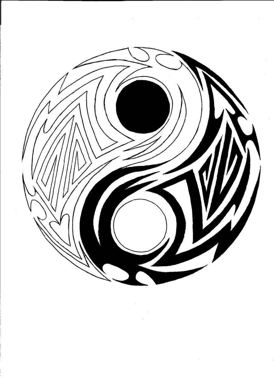 900x1238 Collection Of Tribal Scorpion Yin Yang Tattoo Design