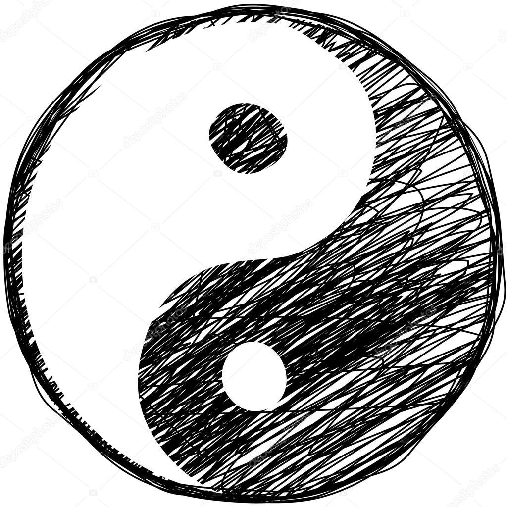 1024x1024 Doodle Yin Yang Symbol Stock Vector Greengrass