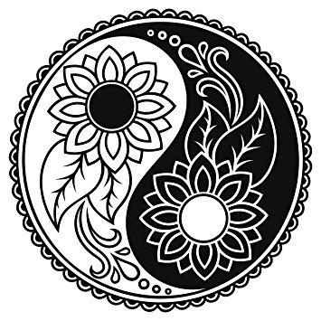 355x355 Sunflower Daisy Ying Yang Icon Vinyl Decal Sticker (4