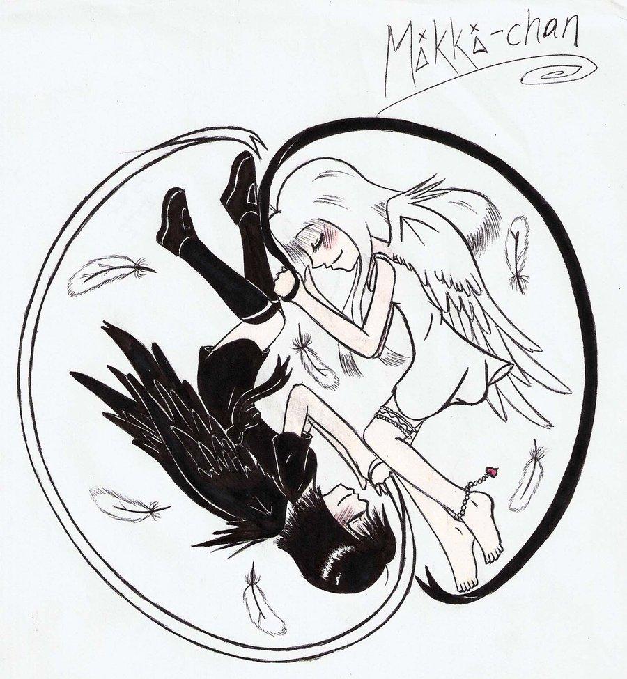 900x975 Ying Yang Angels By Xxangelicnekoxx