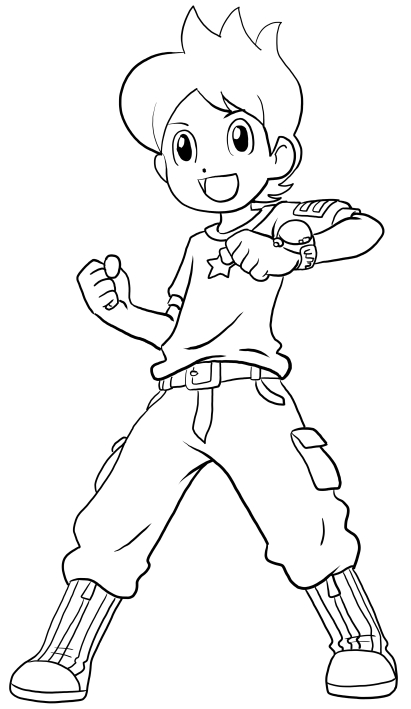 411x709 Nathan Adams From Yo Kai Watch Coloring Pages