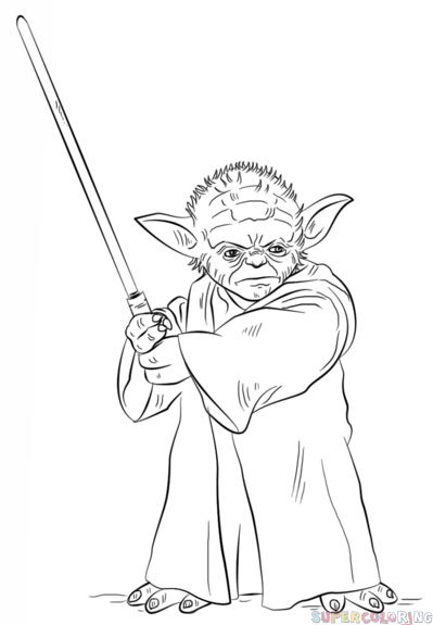 399x575 how to draw yoda with lightsaber step by step drawing tutorials