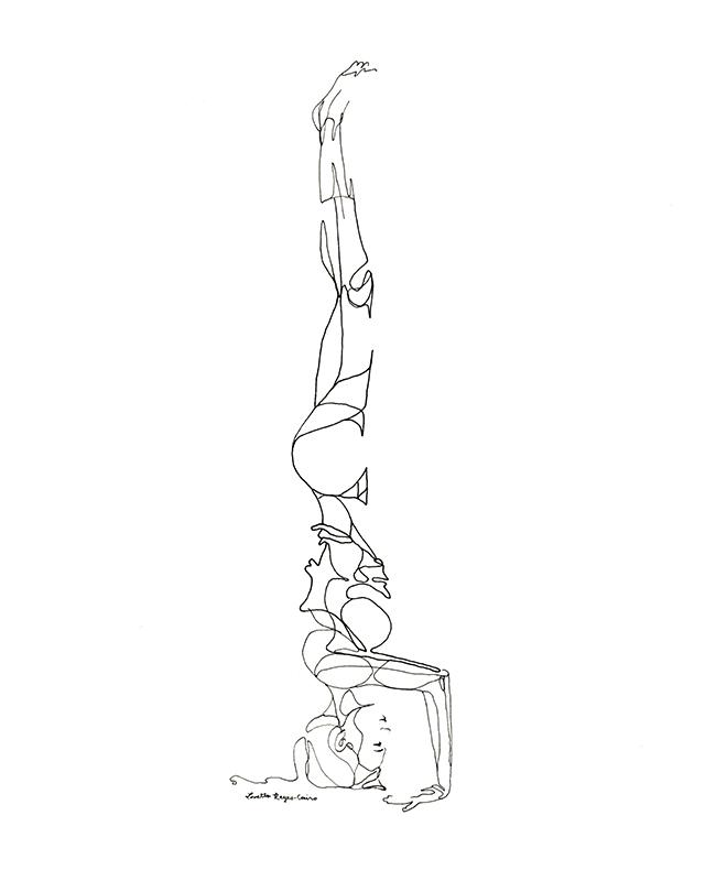 640x800 Headstand Yoga Line Drawings Yoga, Fitness Journal