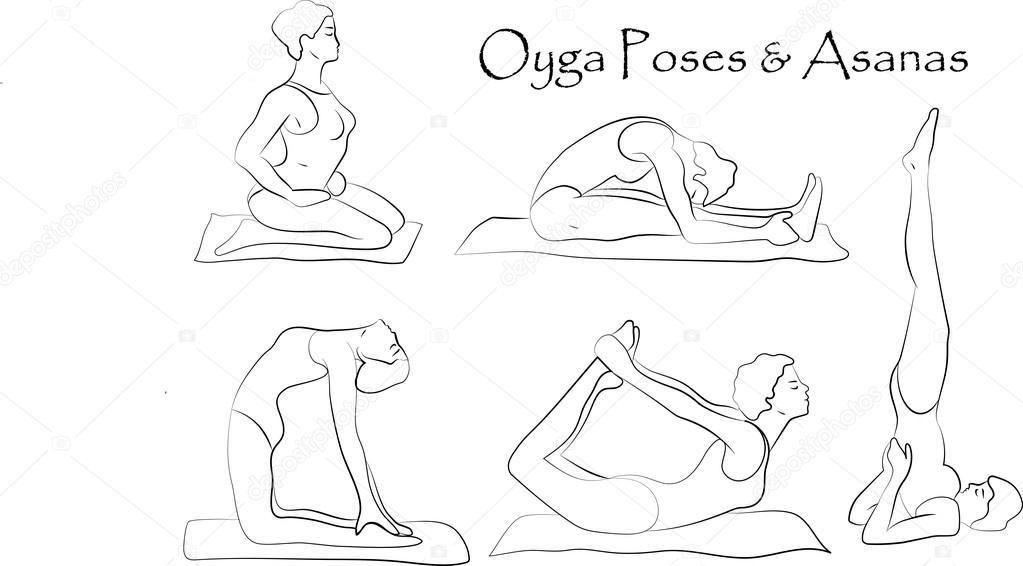 1023x566 Vector Yoga Illustration. Yoga Set. Yoga Exercises. Women Yoga