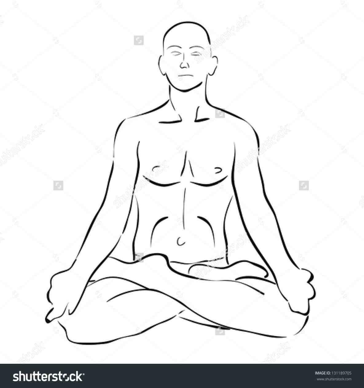 1185x1264 Doing Yoga Girl Lotus Position Drawing Doing Yoga Vector Stock