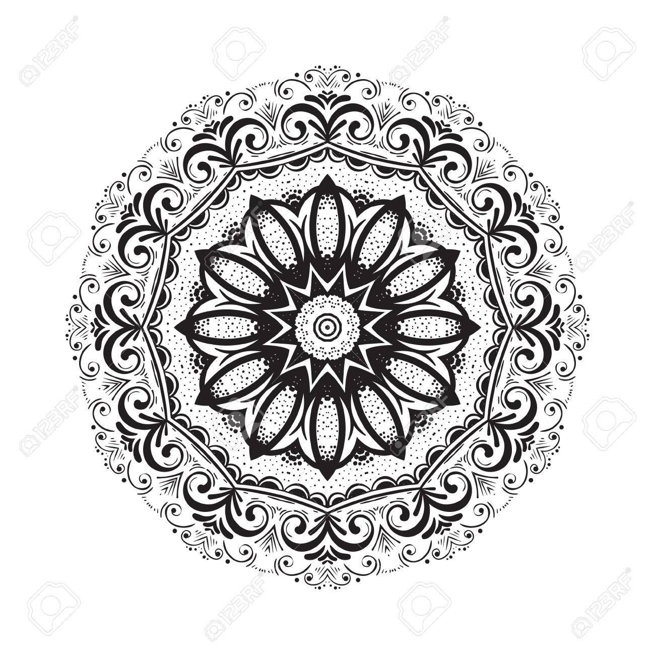 1300x1300 Hand Drawn Mandala Henna Pattern. Can Be Used