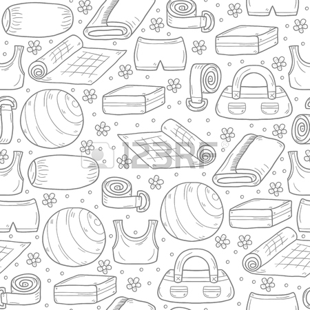 450x450 Illustration With Cartoon Hand Drawn Yoga Equipment Background