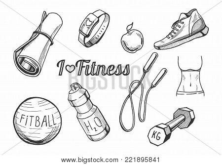 450x334 Vector Illustration Fitness Items Vector Amp Photo Bigstock