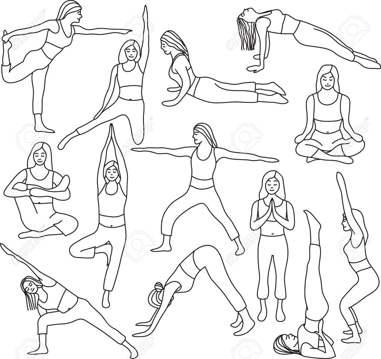 1300x1225 Basic Yoga Pose Drawing
