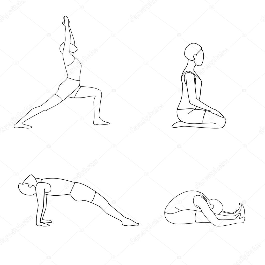 1024x1024 Set Of Four Yoga Poses. Man Doing Yoga Stock Vector Dana1125