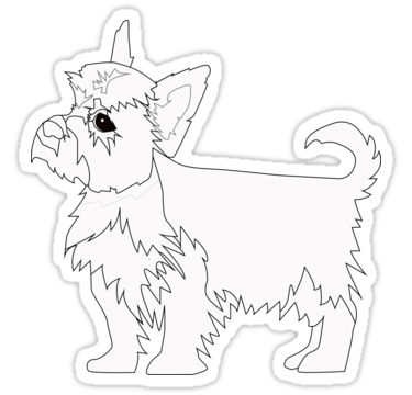 375x360 Yorkie Dog Breed Coloring Page Silhouette Stickers By