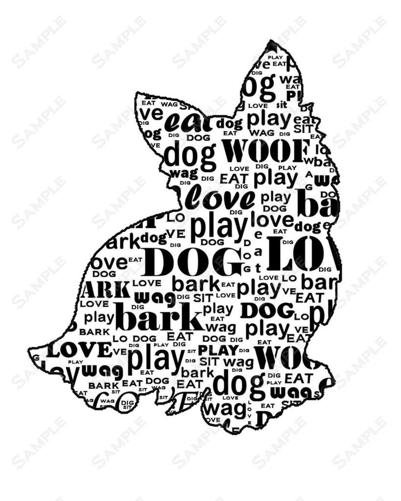819x1024 Personalized Yorkie Yorkshire Terrier Dog Silhouette Yorkie Word Art 8