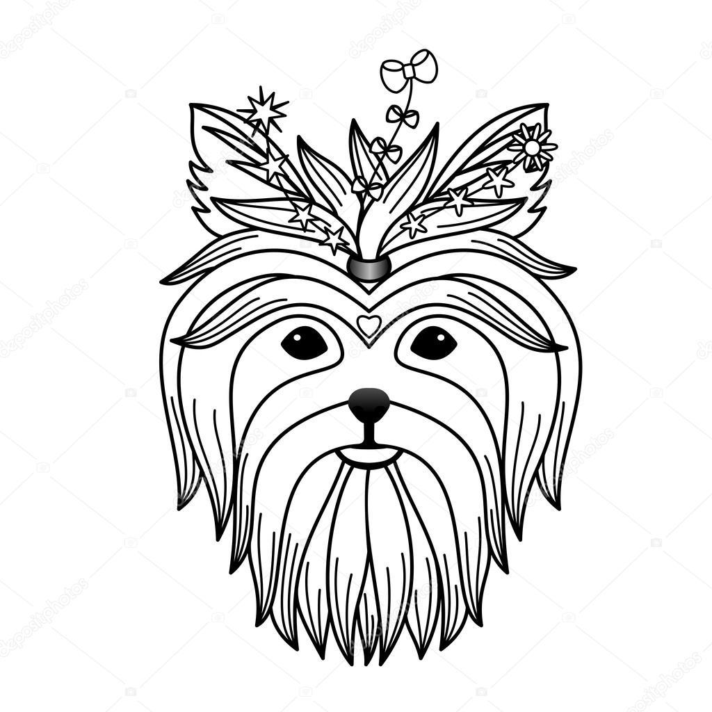 1024x1024 Yorkshire Terrier Tattoo Stock Vector Kronalux