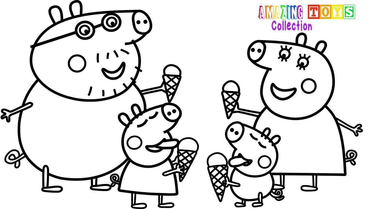 1280x720 How To Draw Peppa Pig Family Ice Cream Coloring Pages Youtube