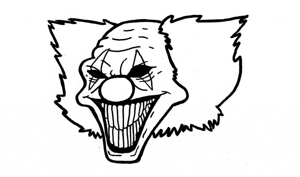 1024x604 Scary Clown Drawings How To Draw A Clown Killer Evil Clown Step