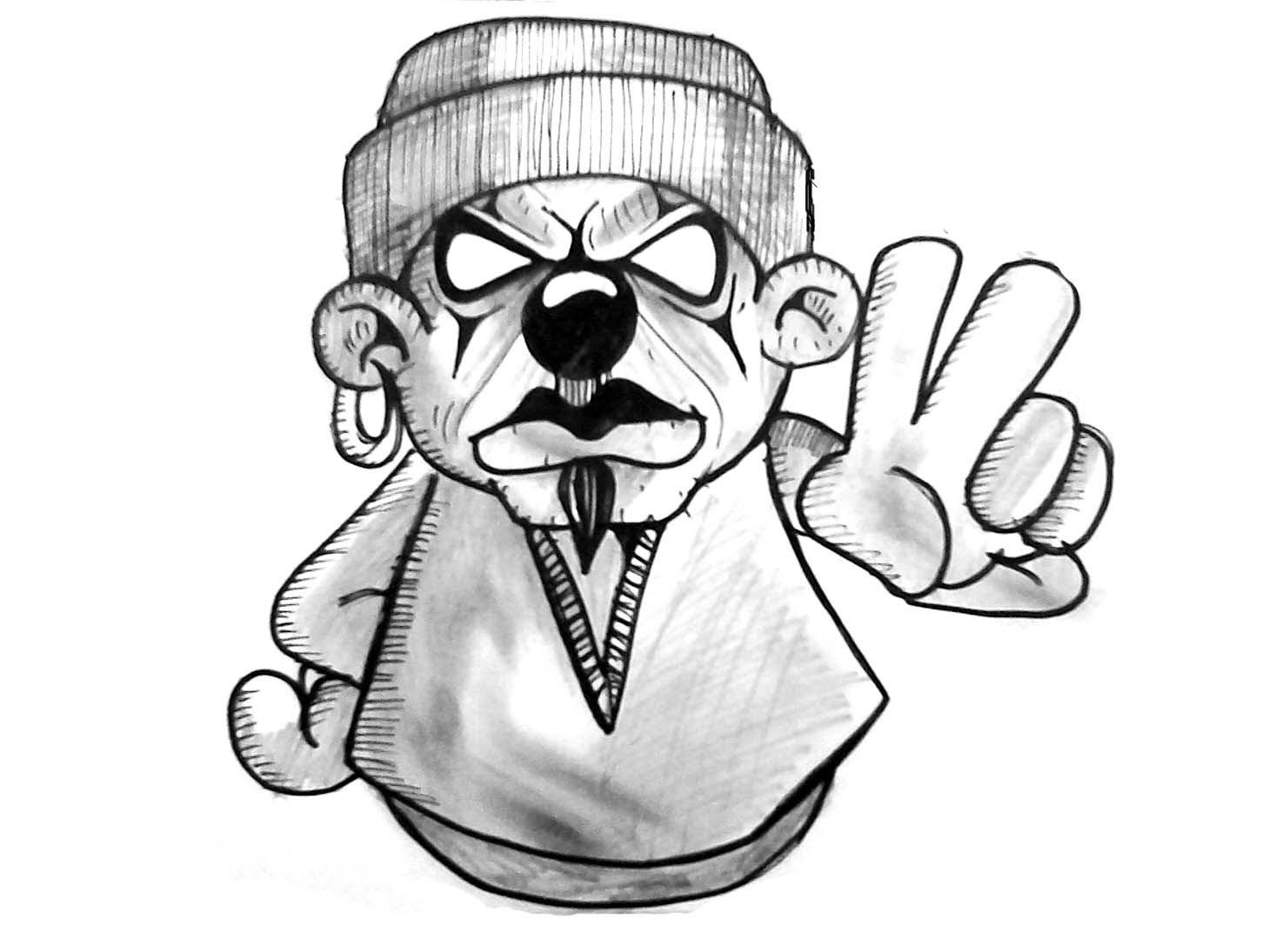 1458x1095 Drawn Clown Graffiti
